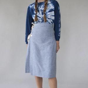 W'menswear brushed cotton herringbone kilt skirt